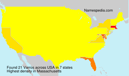 Surname Varros in USA