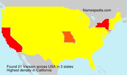 Familiennamen Varsam - USA