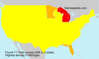 Surname Vartti in USA