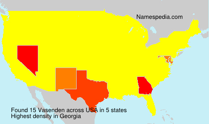 Surname Vasenden in USA