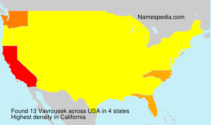Surname Vavrousek in USA