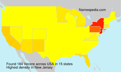 Surname Vecere in USA
