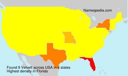 Familiennamen Velvett - USA