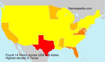 Familiennamen Verich - USA