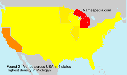 Surname Vettes in USA