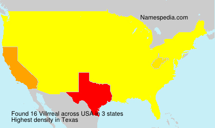 Surname Villrreal in USA