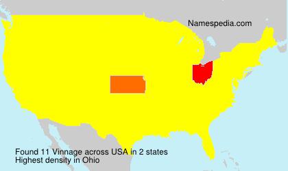 Surname Vinnage in USA
