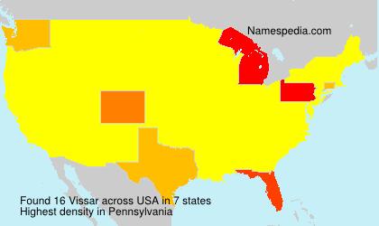 Familiennamen Vissar - USA