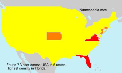 Familiennamen Voser - USA