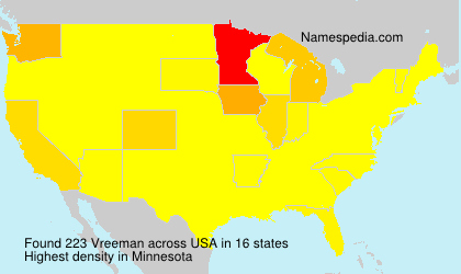 Surname Vreeman in USA