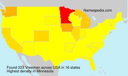 Surname Vreeman in USA
