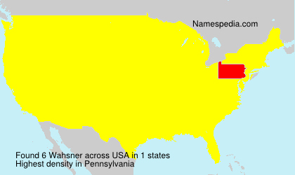 Surname Wahsner in USA