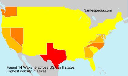 Surname Wakene in USA