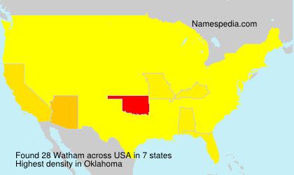 Surname Watham in USA