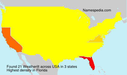 Surname Weatherilt in USA