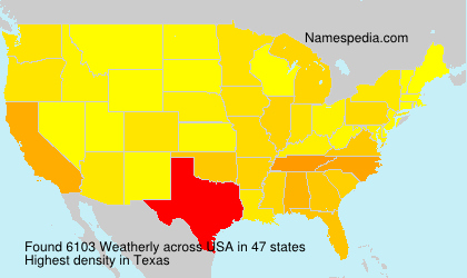 Surname Weatherly in USA