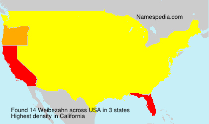Surname Weibezahn in USA