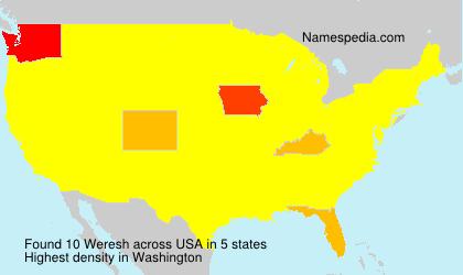 Surname Weresh in USA