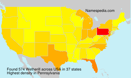 Surname Wetherill in USA