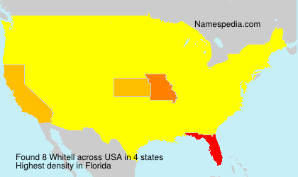 Surname Whitell in USA