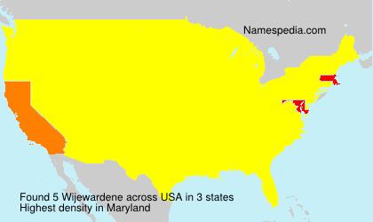 Familiennamen Wijewardene - USA