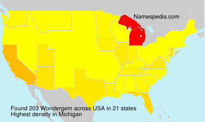 Surname Wondergem in USA