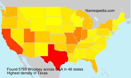 Surname Woolsey in USA
