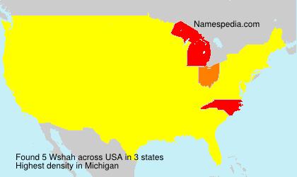 Familiennamen Wshah - USA