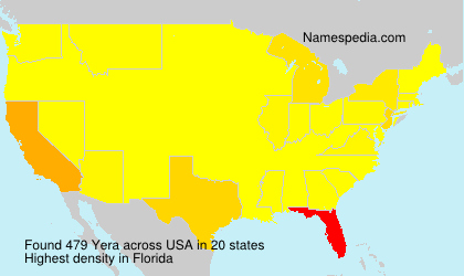 Surname Yera in USA