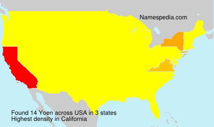 Surname Yoen in USA