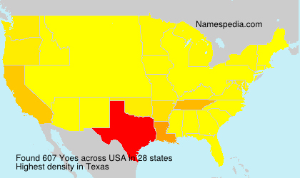 Surname Yoes in USA