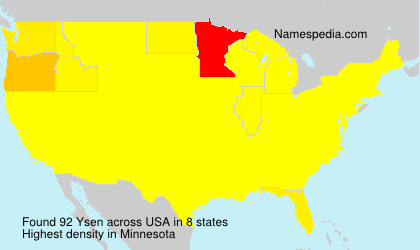 Surname Ysen in USA