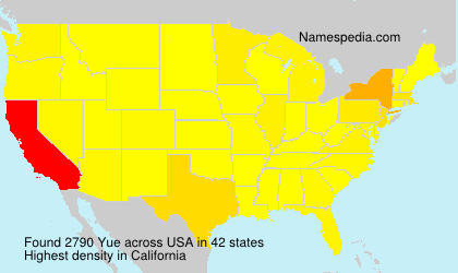 Surname Yue in USA