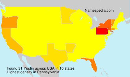 Familiennamen Yustin - USA