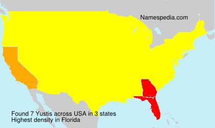 Surname Yustis in USA