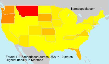 Surname Zachariasen in USA