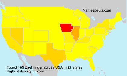 Surname Zaehringer in USA