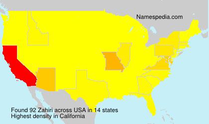 Familiennamen Zahiri - USA
