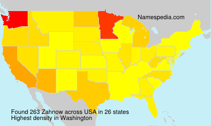 Familiennamen Zahnow - USA
