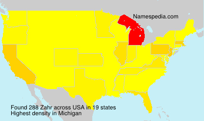 Surname Zahr in USA