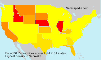 Surname Zahradnicek in USA