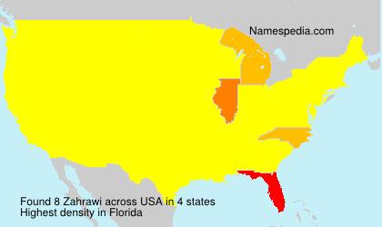 Familiennamen Zahrawi - USA