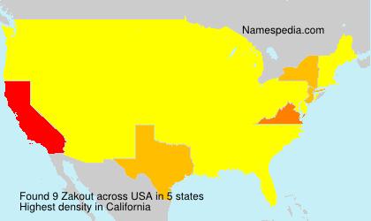 Familiennamen Zakout - USA