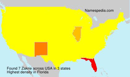 Surname Zakrie in USA