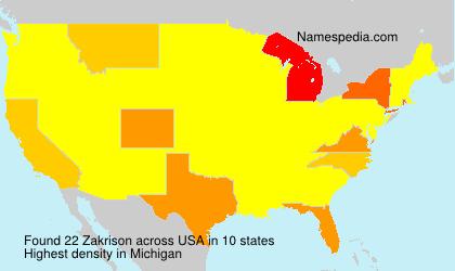 Familiennamen Zakrison - USA