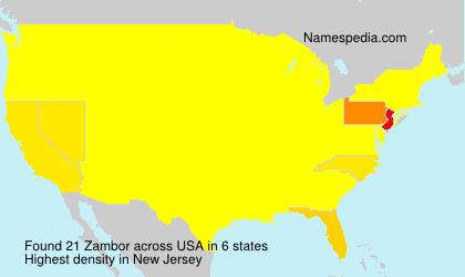 Familiennamen Zambor - USA