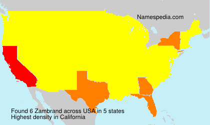 Surname Zambrand in USA