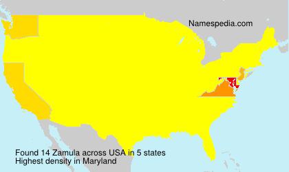 Familiennamen Zamula - USA