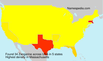 Surname Zangarine in USA