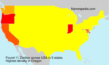 Familiennamen Zaniker - USA